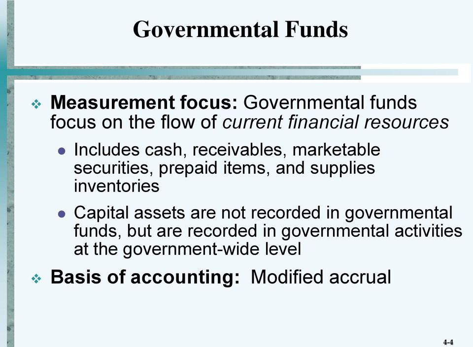 supplies inventories Capital assets are not recorded in governmental funds, but are