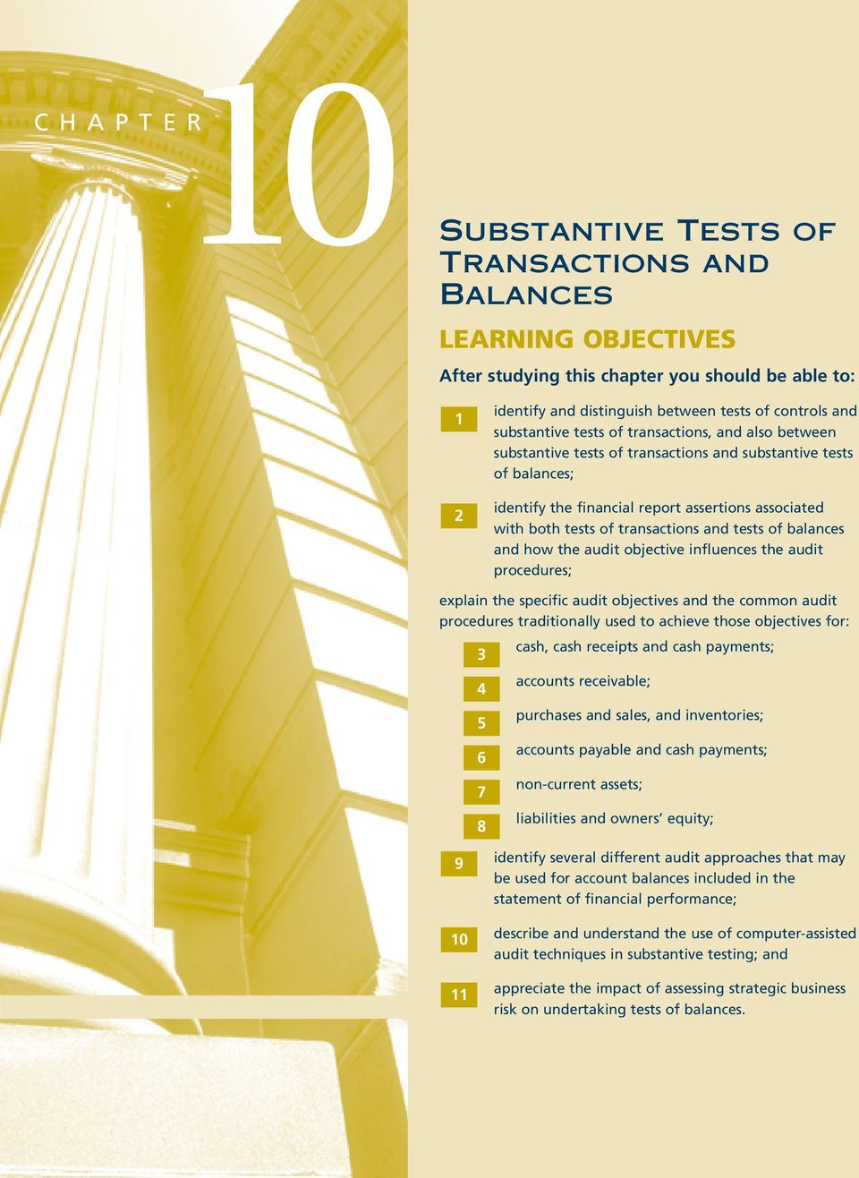 tests of balances and how the audit objective influences the audit procedures; explain the specific audit objectives and the common audit procedures traditionally used to achieve those objectives