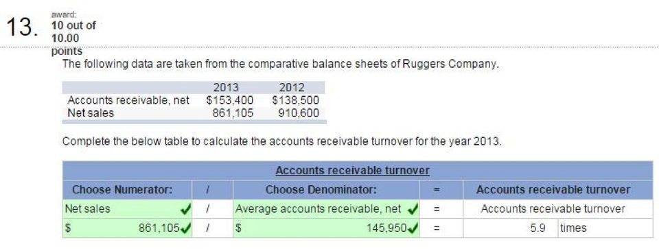 receivable turnover for the year 2 13. Choose Numerator: Net sales./ I $ 86 1,15.