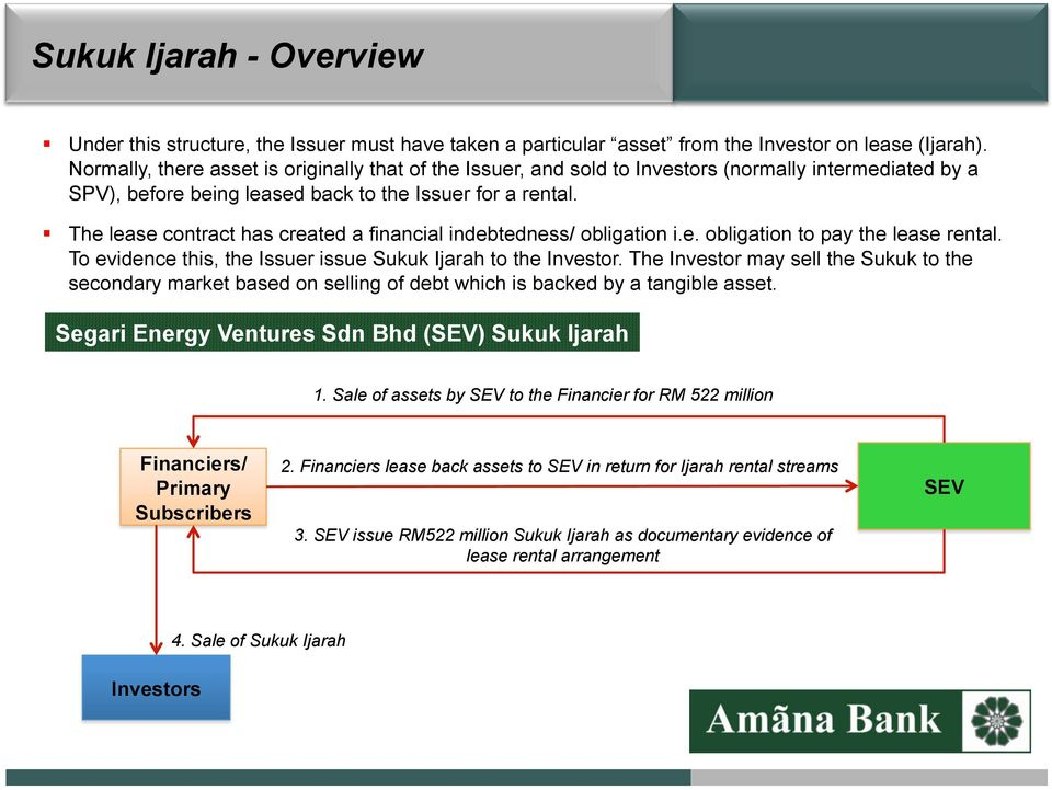 The lease cntract has created a financial indebtedness/ bligatin i.e. bligatin t pay the lease rental. T evidence this, the Issuer issue Sukuk Ijarah t the Investr.