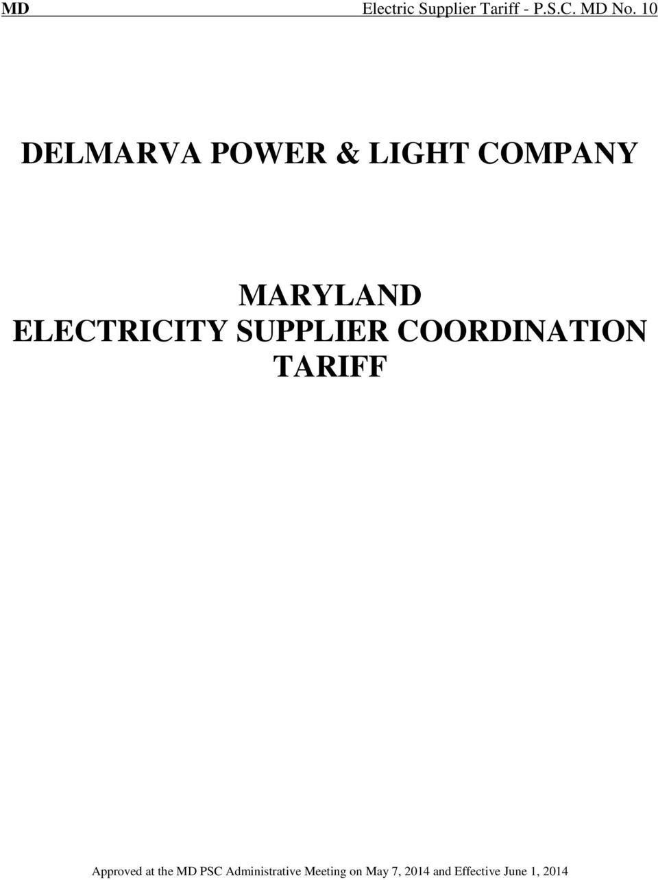 ELECTRICITY SUPPLIER COORDINATION TARIFF Approved at