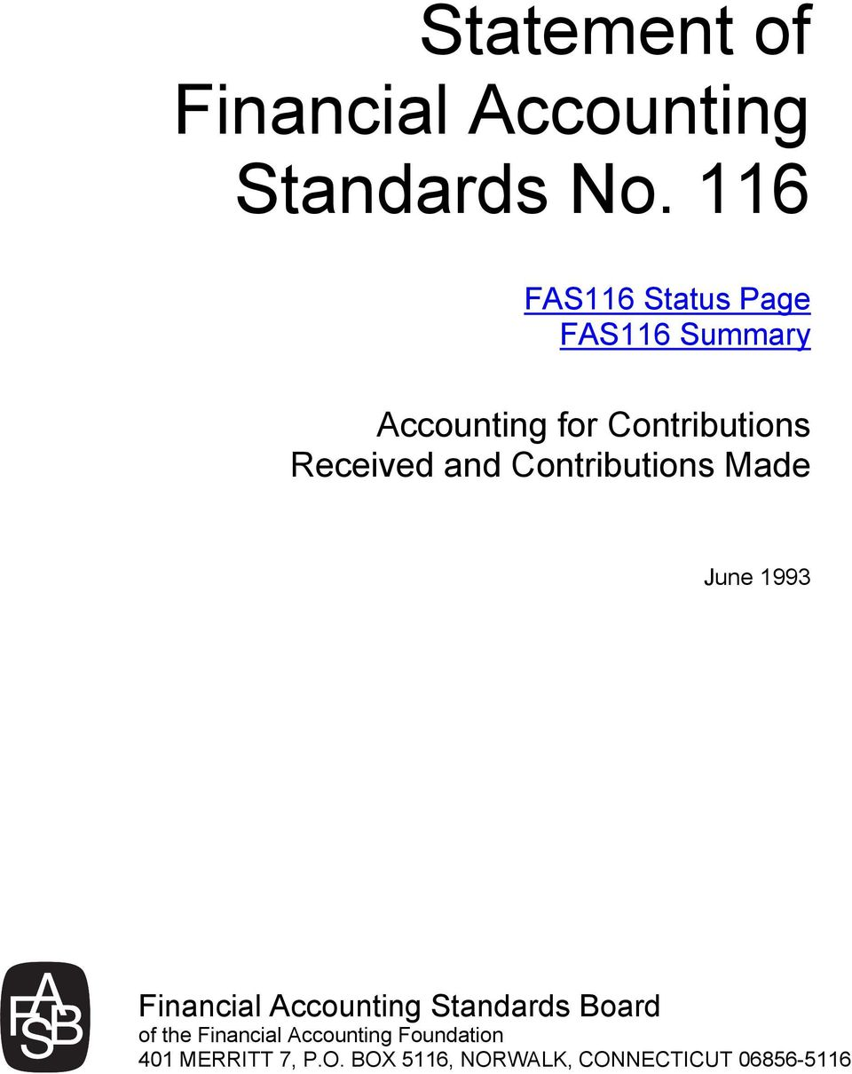 Received and Contributions Made June 1993 Financial Accounting Standards