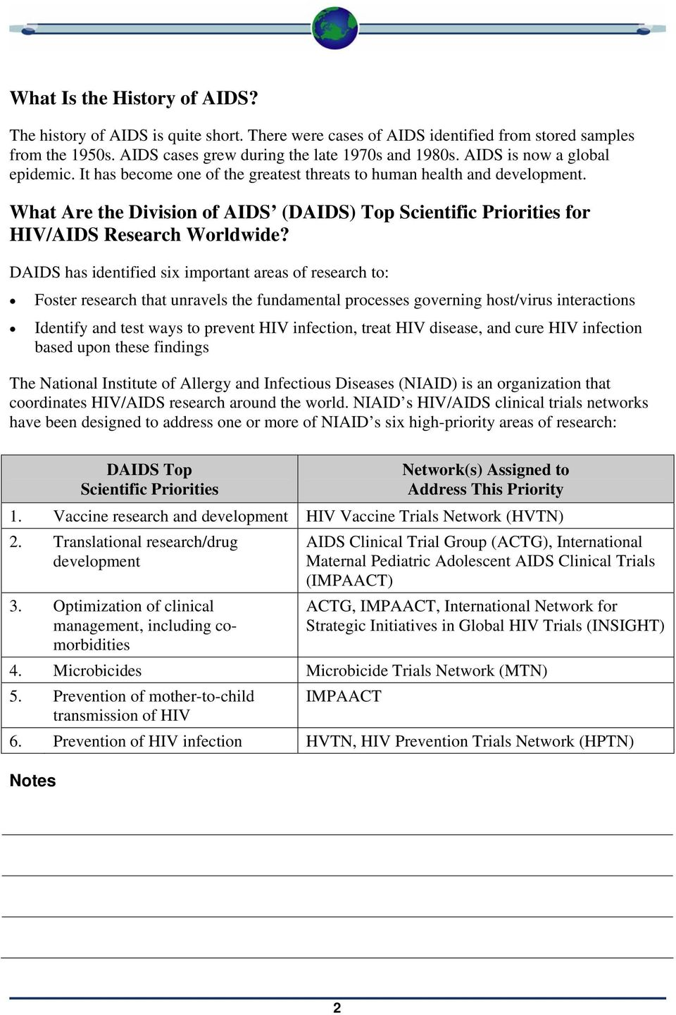 What Are the Division of AIDS (DAIDS) Top Scientific Priorities for HIV/AIDS Research Worldwide?