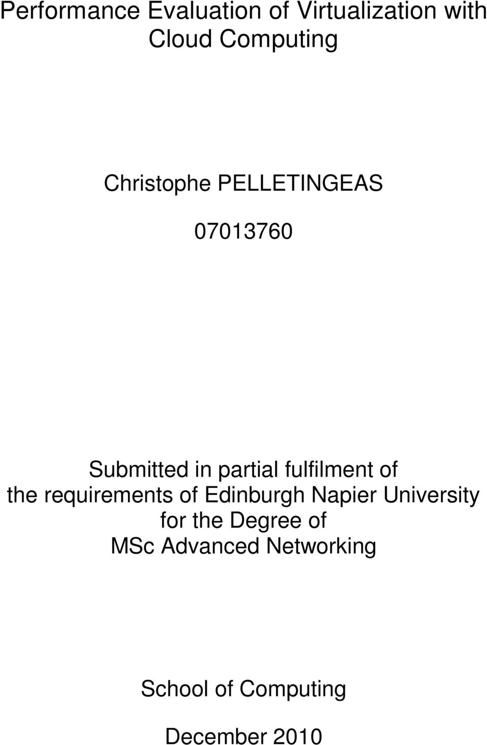 fulfilment of the requirements of Edinburgh Napier University