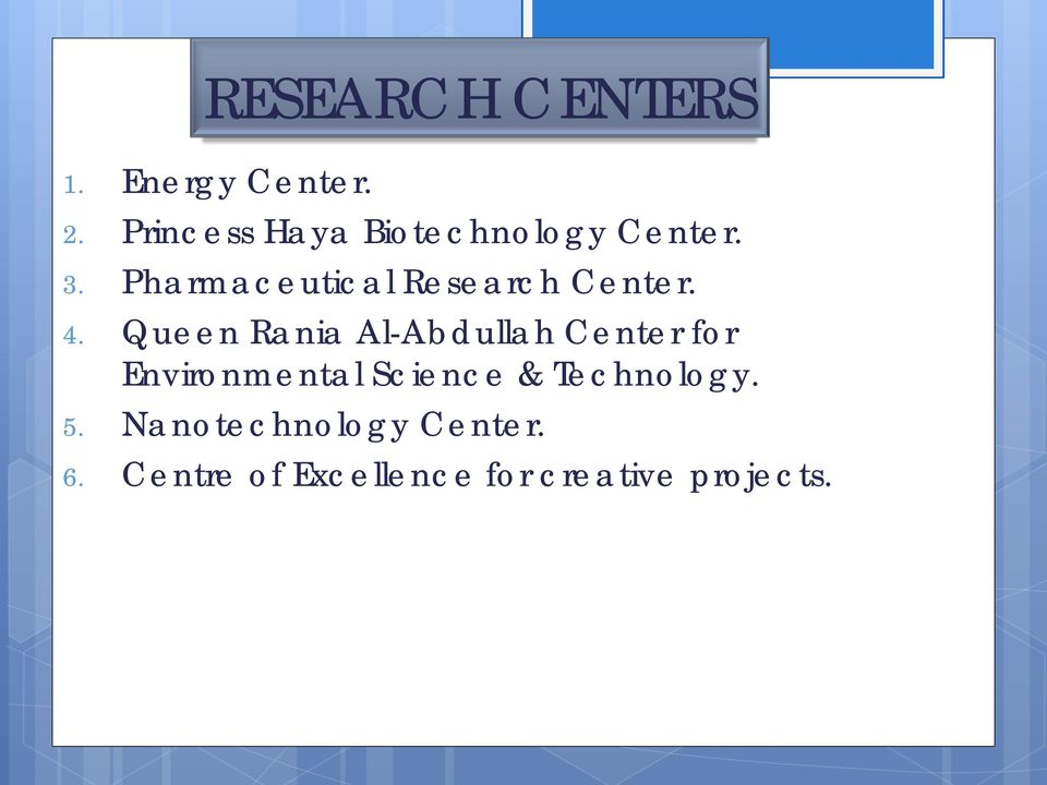 Pharmaceutical Research Center. 4.