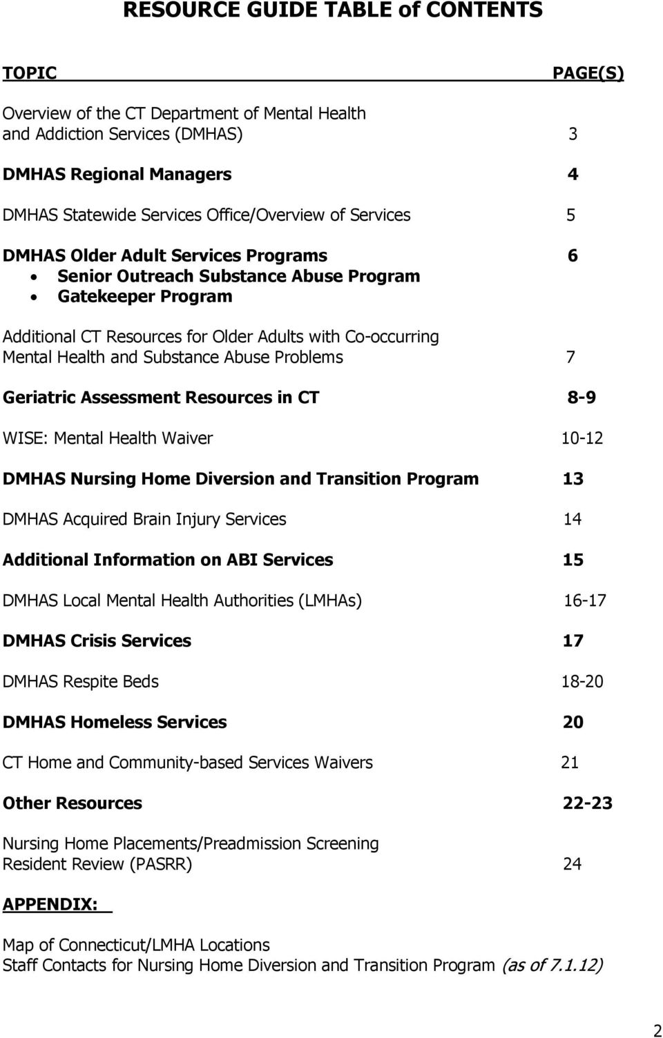 Geriatric Assessment Resurces in CT 8-9 WISE: Mental Health Waiver 10-12 DMHAS Nursing Hme Diversin and Transitin Prgram 13 DMHAS Acquired Brain Injury Services 14 Additinal Infrmatin n ABI Services