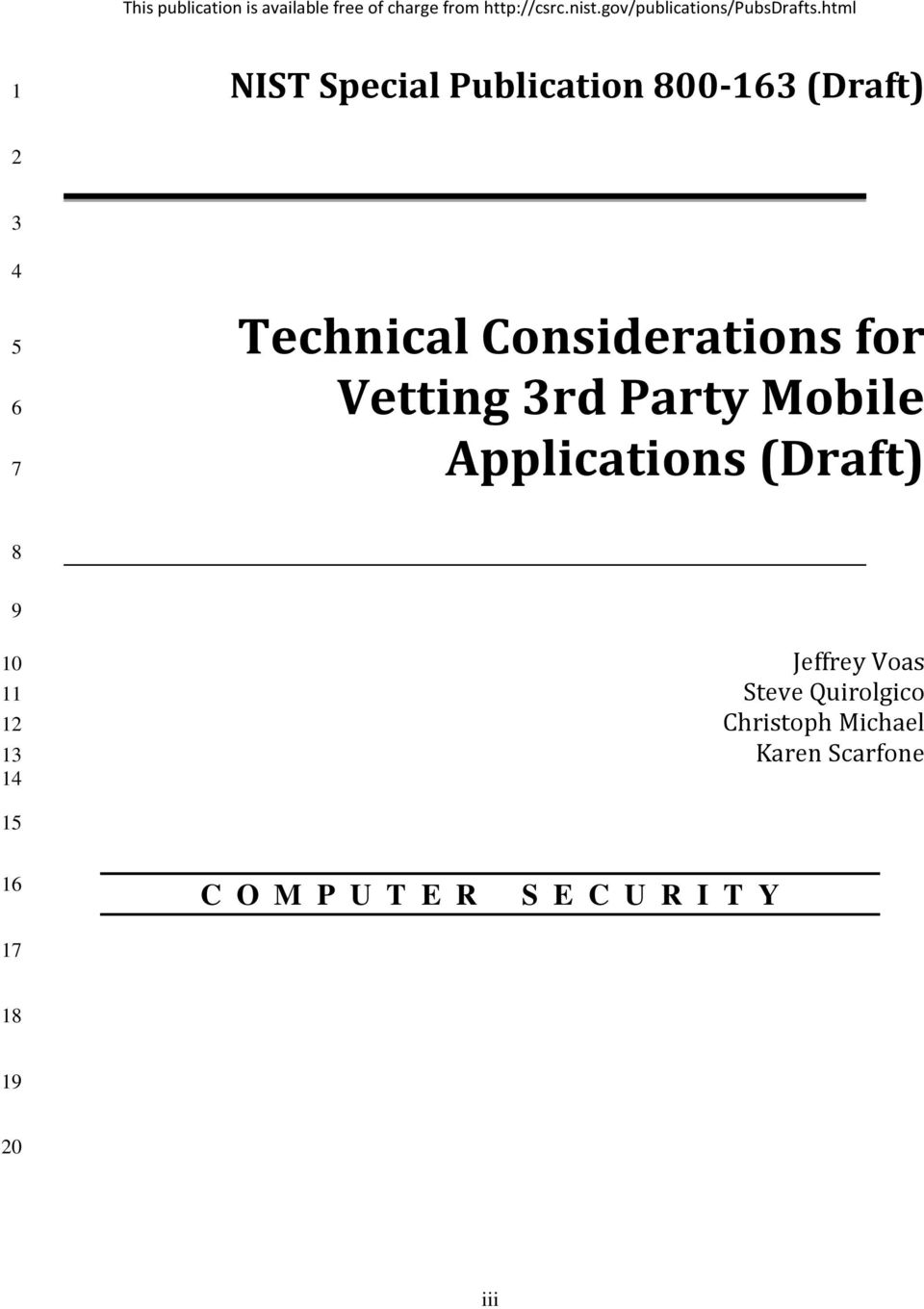 html 1 NIST Special Publication 800-163 (Draft) 2 3 4 5 6 7 Technical Considerations for