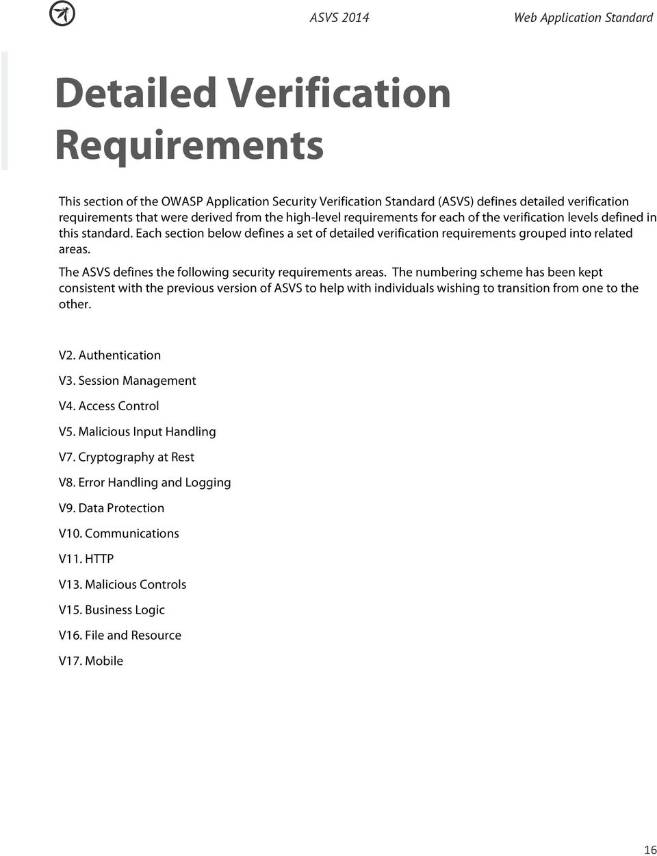 The ASVS defines the following security requirements areas.