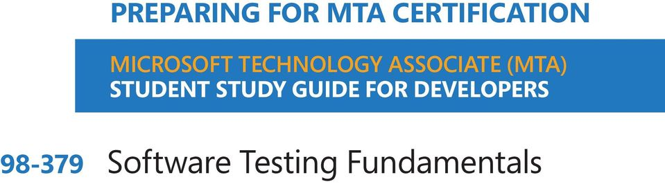 (MTA) STUDENT STUDY GUIDE FOR
