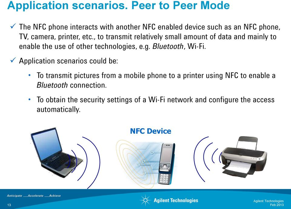 , to transmit relatively small amount of data and mainly to enable the use of other technologies, e.g. Bluetooth, Wi-Fi.