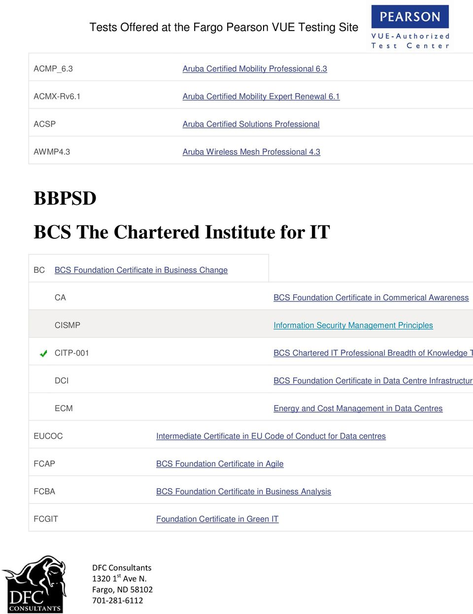 3 BBPSD BCS The Chartered Institute for IT BC BCS Foundation Certificate in Business Change CA BCS Foundation Certificate in Commerical Awareness CISMP Information Security Management