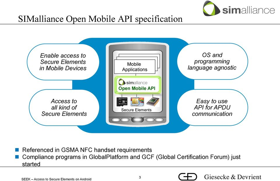 Open Mobile API Secure Elements Easy to use API for APDU communication n Referenced in GSMA NFC