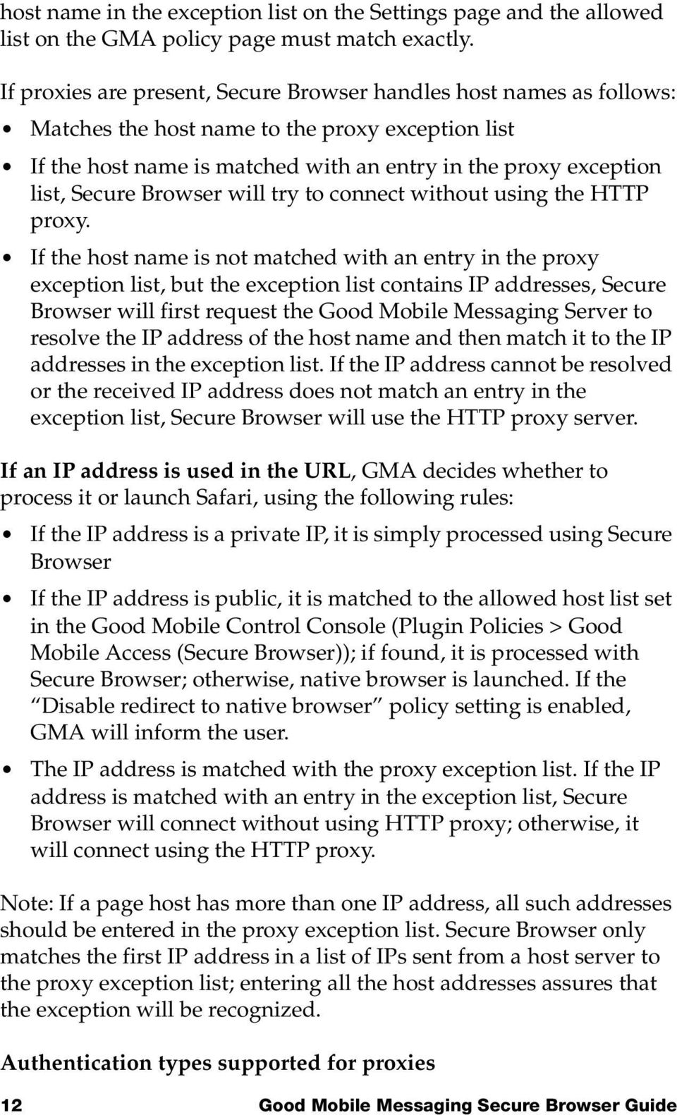 Browser will try to connect without using the HTTP proxy.