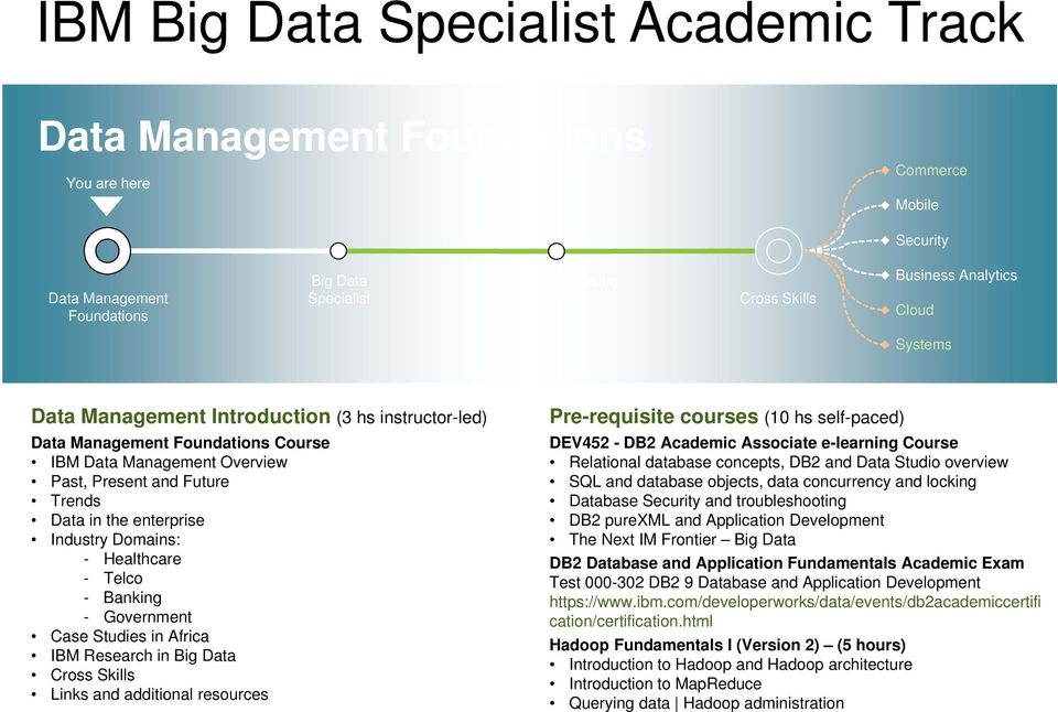 Academic Associate e-learning Course Relational database concepts, DB2 and Data Studio overview SQL and database objects, data concurrency and locking Database Security and troubleshooting DB2