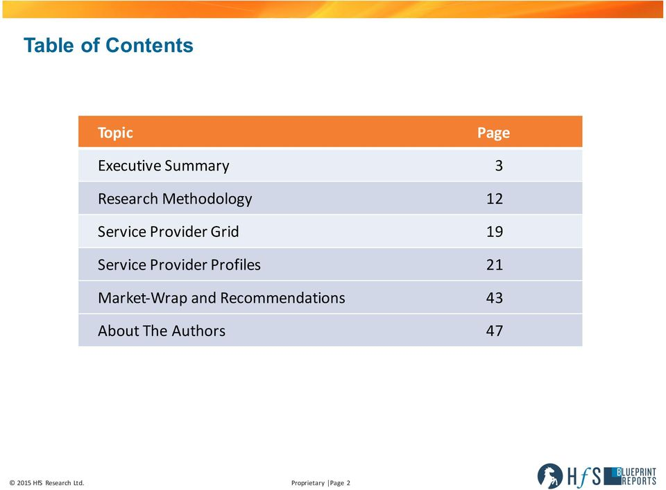 Provider Profiles 21 Market- Wrap and Recommendations 43