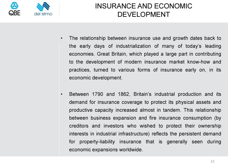 development. Between 1790 and 1862, Britain s industrial production and its demand for insurance coverage to protect its physical assets and productive capacity increased almost in tandem.
