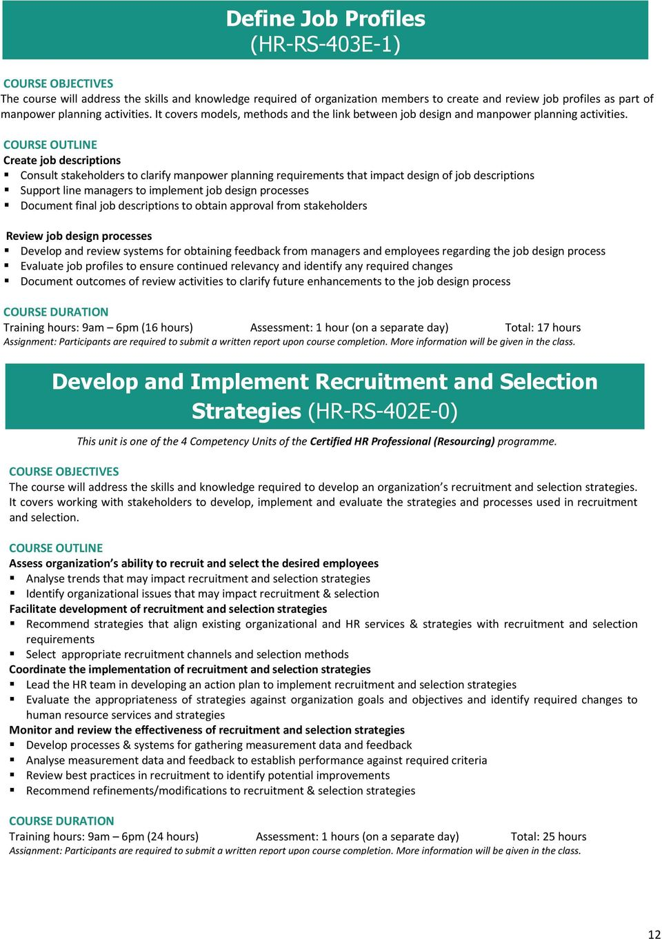 Create job descriptions Consult stakeholders to clarify manpower planning requirements that impact design of job descriptions Support line managers to implement job design processes Document final
