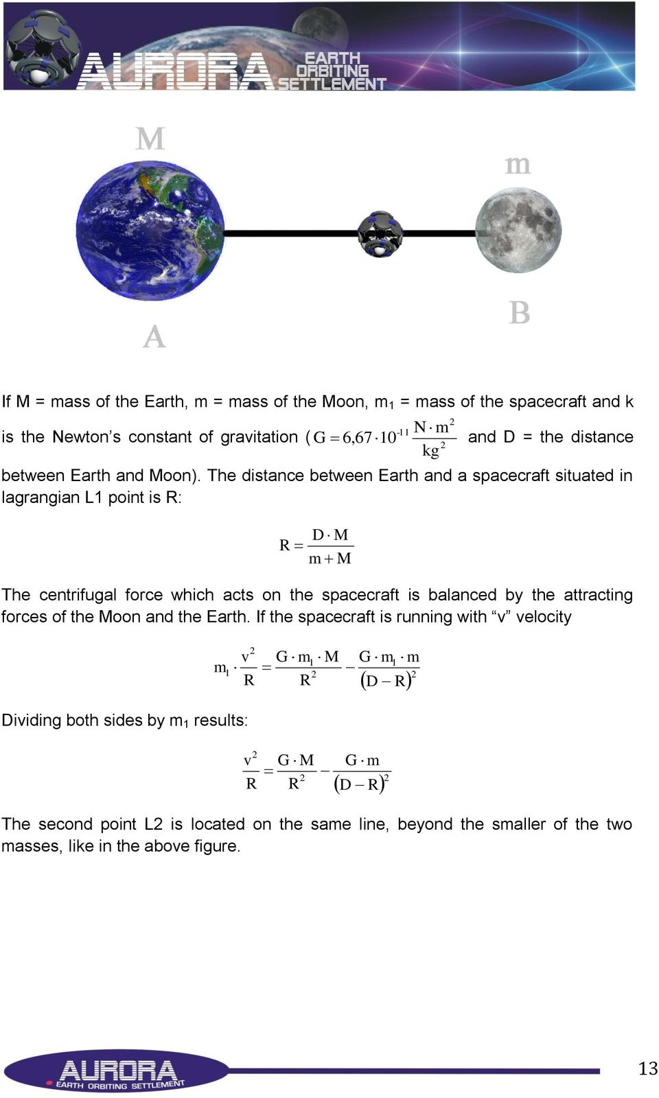 The distance between Earth and a spacecraft situated in lagrangian L1 point is R: D M R m M The centrifugal force which acts on the spacecraft is balanced by the