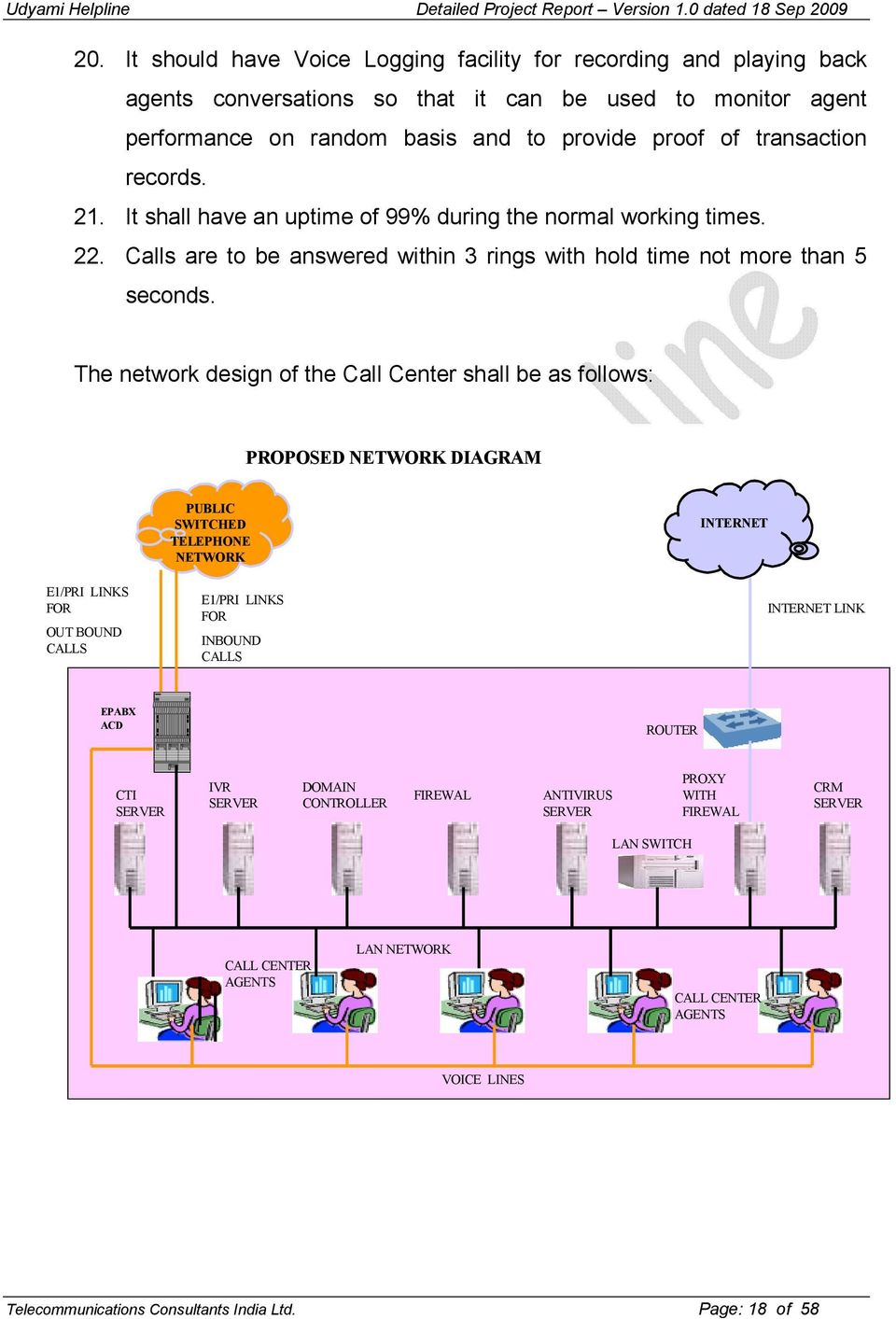 The network design of the Call Center shall be as follows: PROPOSED ETWORK DIAGRAM E1/PRI LINKS FOR OUT BOUND CALLS PUBLIC SWITCHED TELEPHO E ETWORK E1/PRI LINKS FOR INBOUND CALLS I TER ET INTERNET