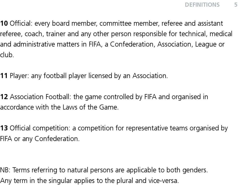 12 Association Football: the game controlled by FIFA and organised in accordance with the Laws of the Game.