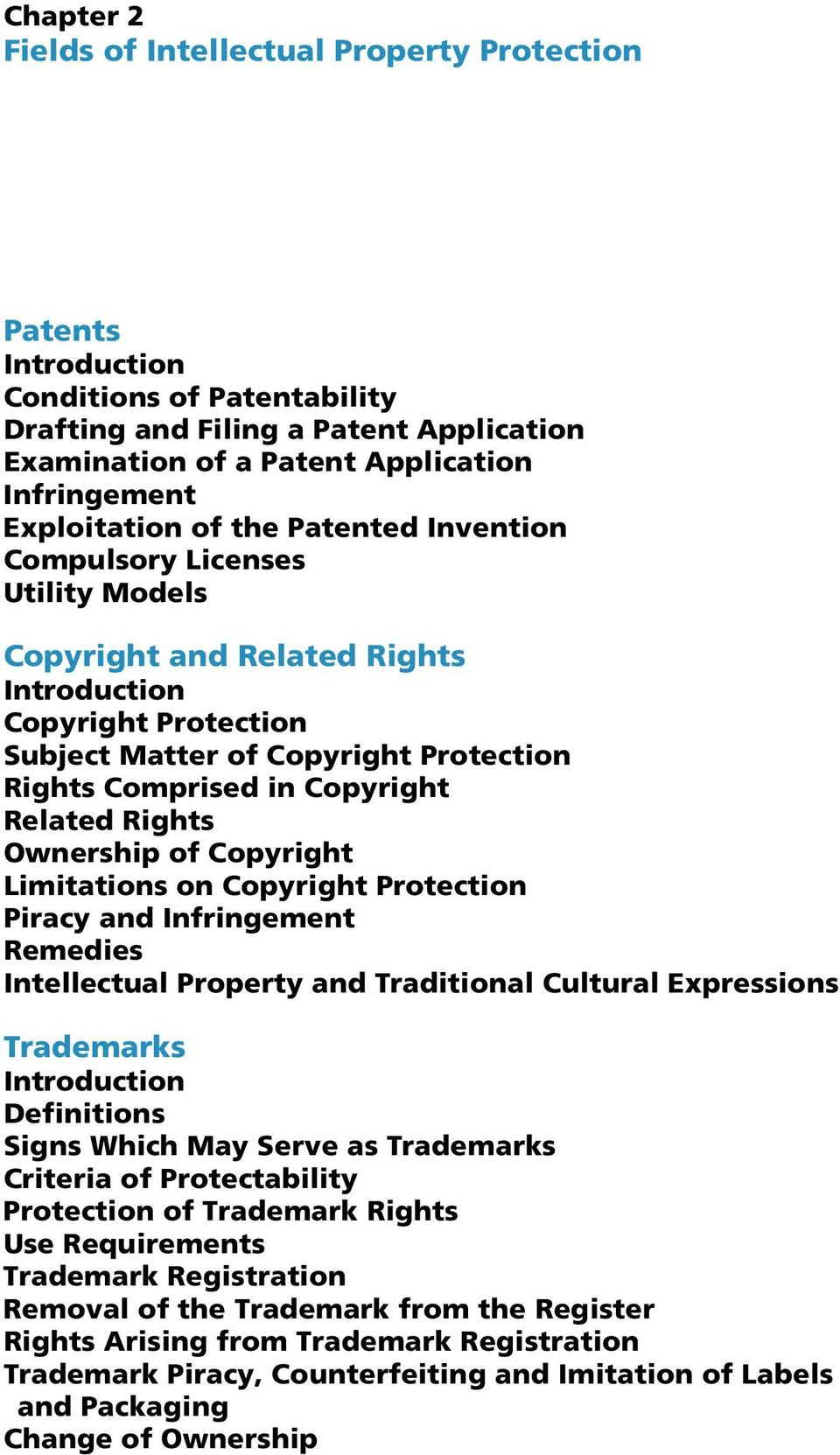 Copyright Related Rights Ownership of Copyright Limitations on Copyright Protection Piracy and Infringement Remedies Intellectual Property and Traditional Cultural Expressions Trademarks Introduction
