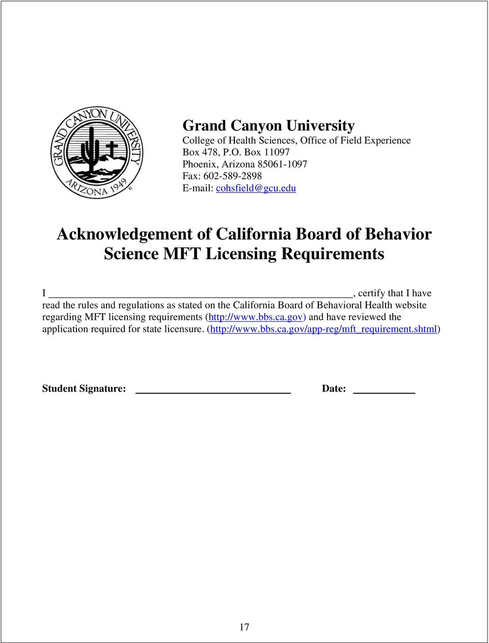 regulations as stated on the California Board of Behavioral Health website regarding MFT licensing requirements (http://www.bbs.ca.