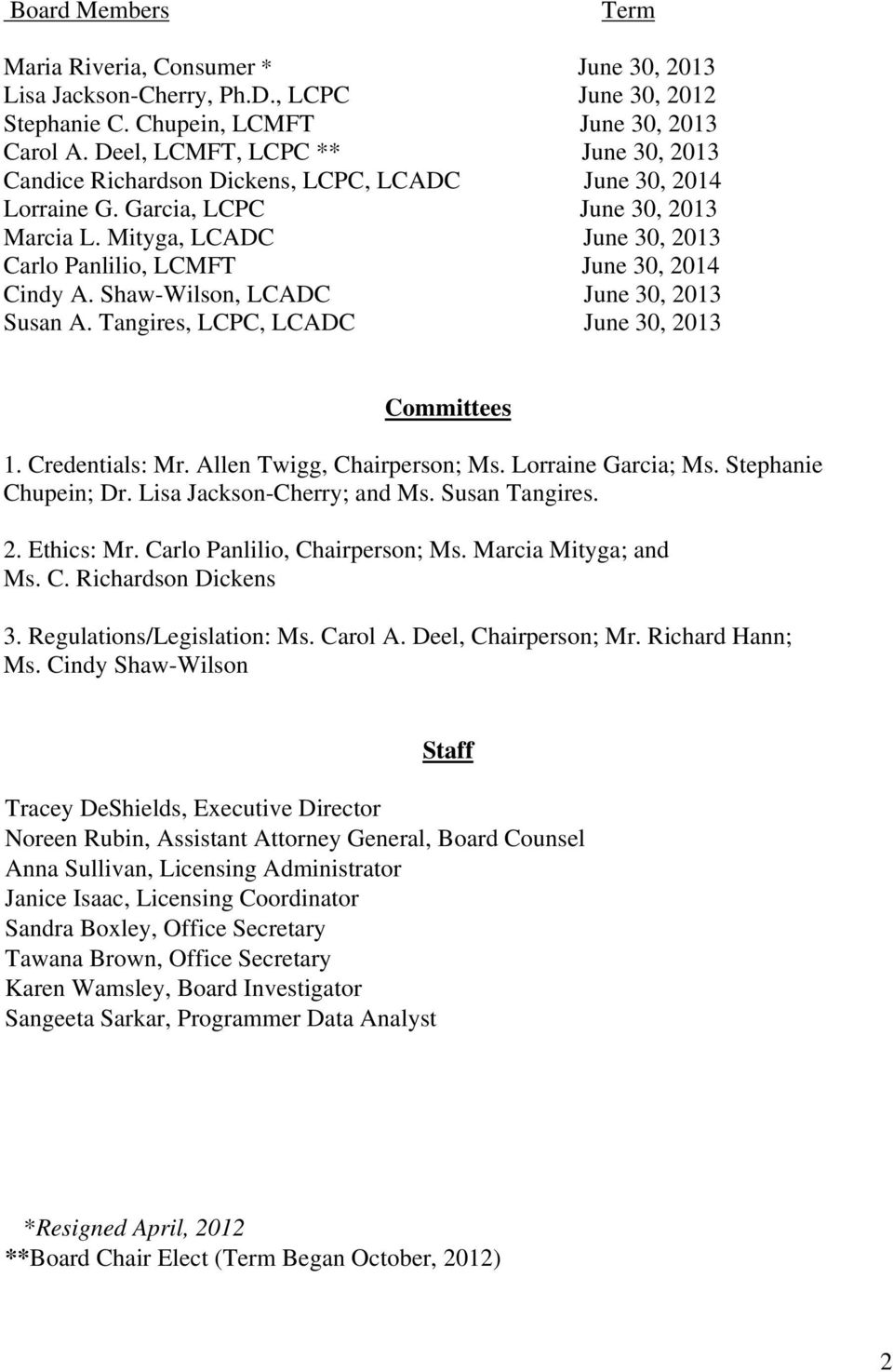 Mityga, LCADC June 30, 2013 Carlo Panlilio, LCMFT June 30, 2014 Cindy A. Shaw-Wilson, LCADC June 30, 2013 Susan A. Tangires, LCPC, LCADC June 30, 2013 Committees 1. Credentials: Mr.