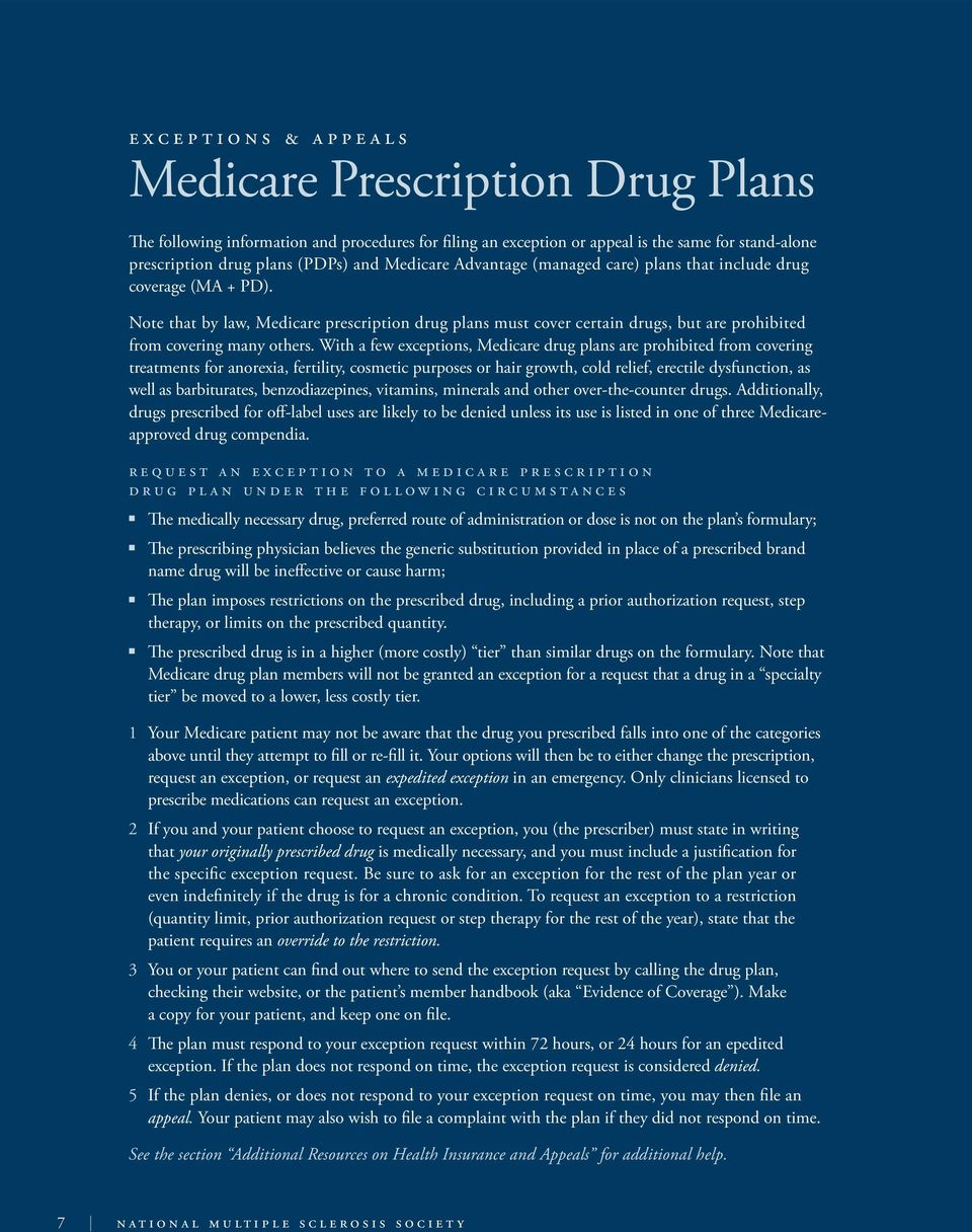 Note that by law, Medicare prescription drug plans must cover certain drugs, but are prohibited from covering many others.
