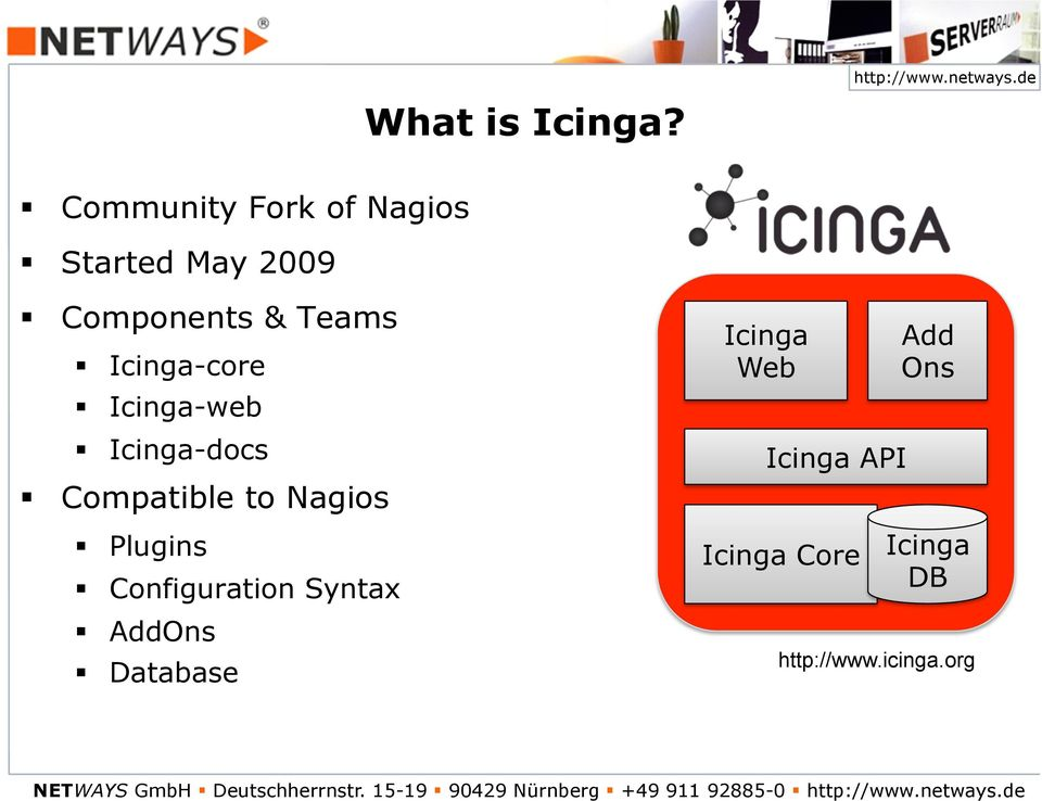 Icinga-web Icinga-docs Compatible to Nagios Plugins Configuration Syntax AddOns