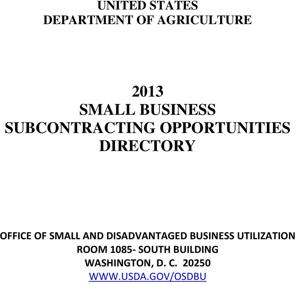 OF SMALL AND DISADVANTAGED BUSINESS UTILIZATION ROOM