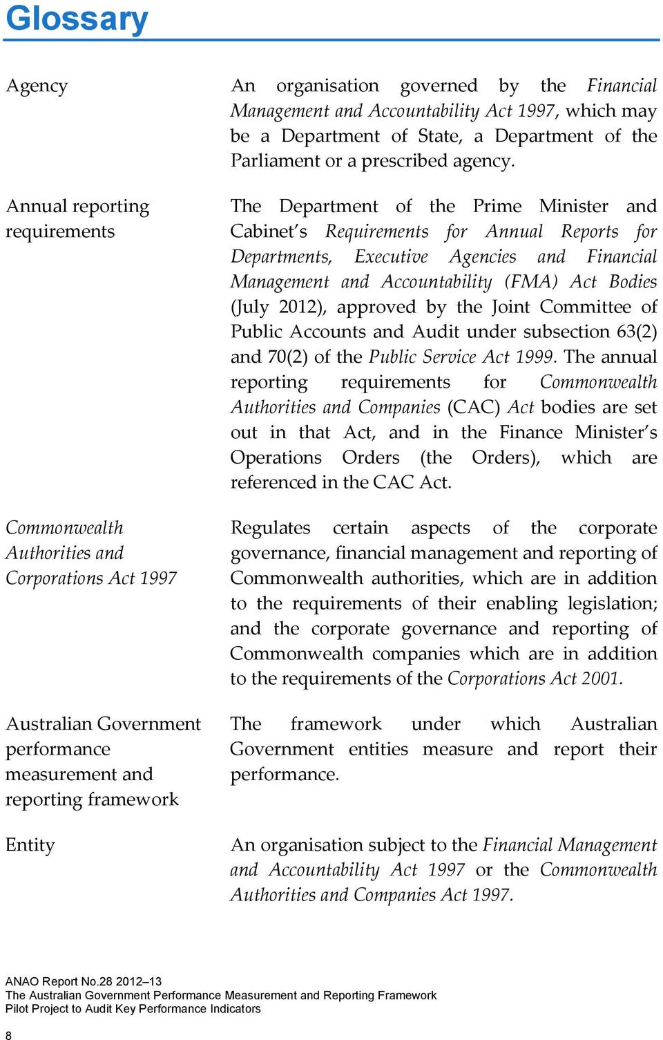 Cabinet s Requirements for Annual Reports for Departments, Executive Agencies and Financial Management and Accountability (FMA) Act Bodies (July 2012), approved by the Joint Committee of Public