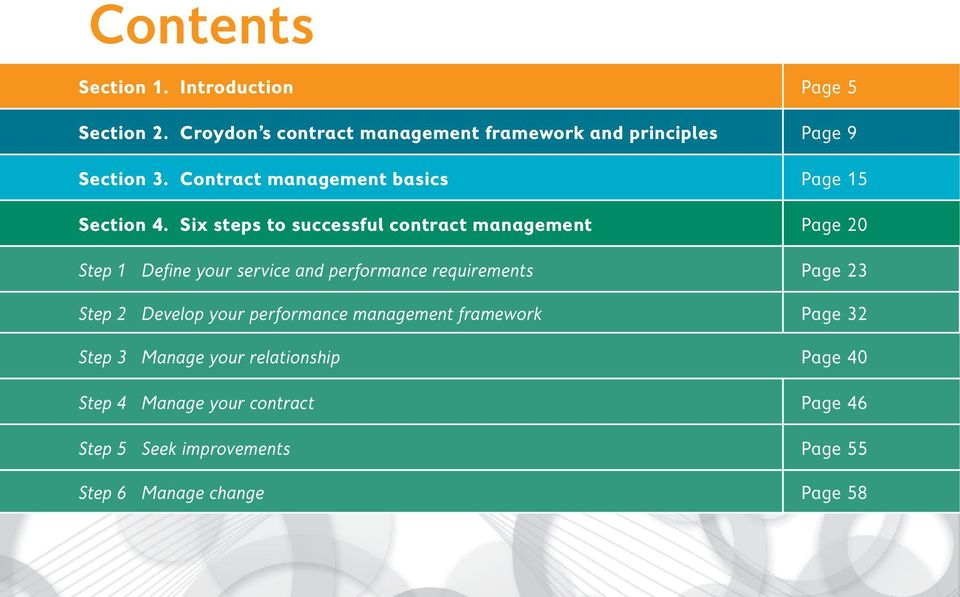 Six steps to successful contract management Page 20 Step 1 Define your service and performance requirements Page 23 Step 2 Develop your