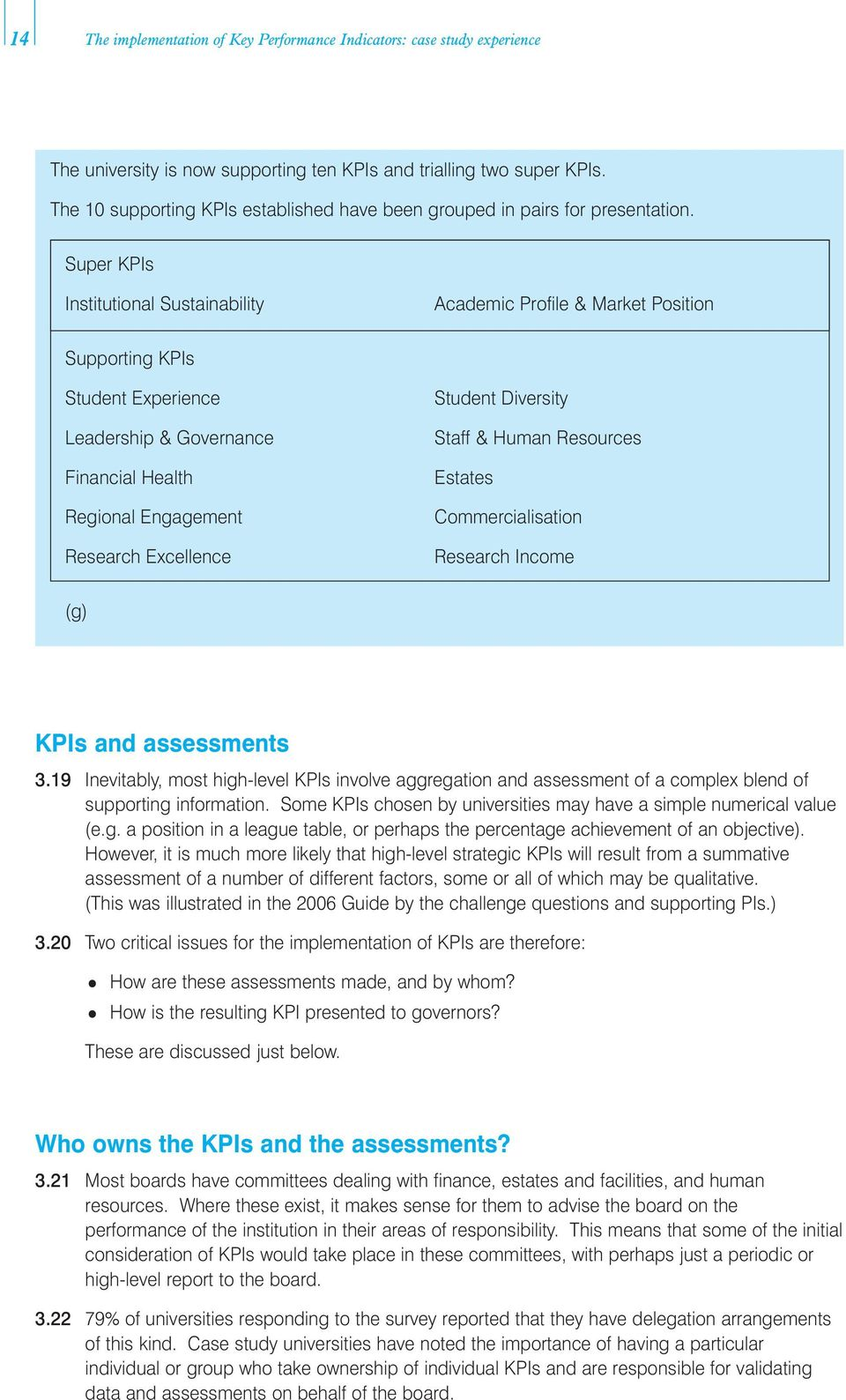 Super KPIs Institutional Sustainability Academic Profile & Market Position Supporting KPIs Student Experience Leadership & Governance Financial Health Regional Engagement Research Excellence Student