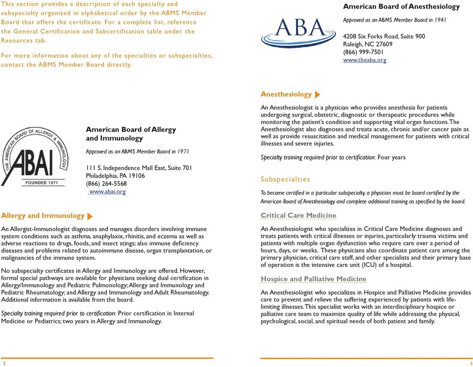 For more information about any of the specialties or subspecialties, contact the ABMS Member Board directly.