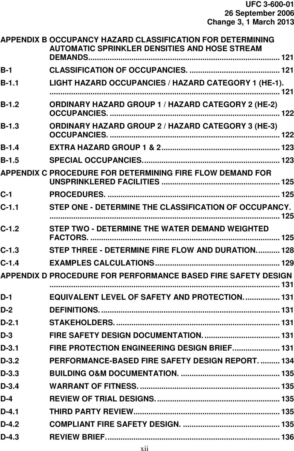 ... 122 B-1.4 EXTRA HAZARD GROUP 1 & 2... 123 B-1.5 SPECIAL OCCUPANCIES.... 123 APPENDIX C PROCEDURE FOR DETERMINING FIRE FLOW DEMAND FOR UNSPRINKLERED FACILITIES... 125 C-1 PROCEDURES.... 125 C-1.1 C-1.