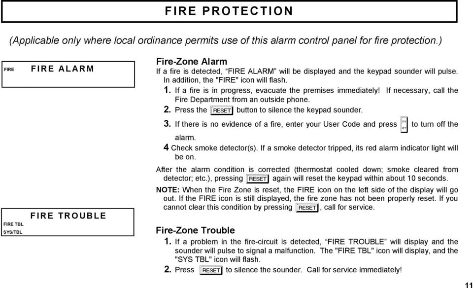 If a fire is in progress, evacuate the premises immediately! If necessary, call the Fire Department from an outside phone. 2. Press the C button to silence the keypad sounder. 3.