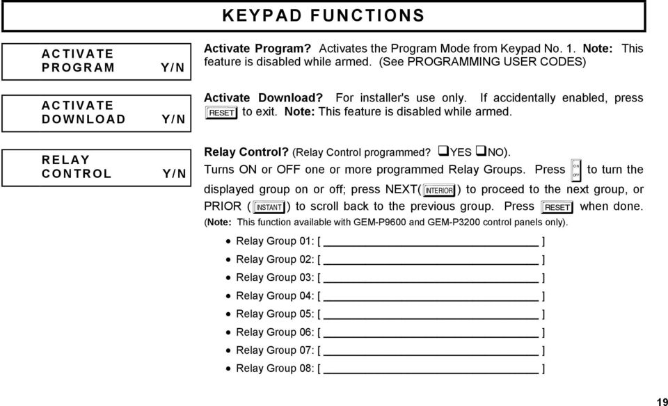 (Relay Control programmed? YES NO). Turns ON or OFF one or more programmed Relay Groups.