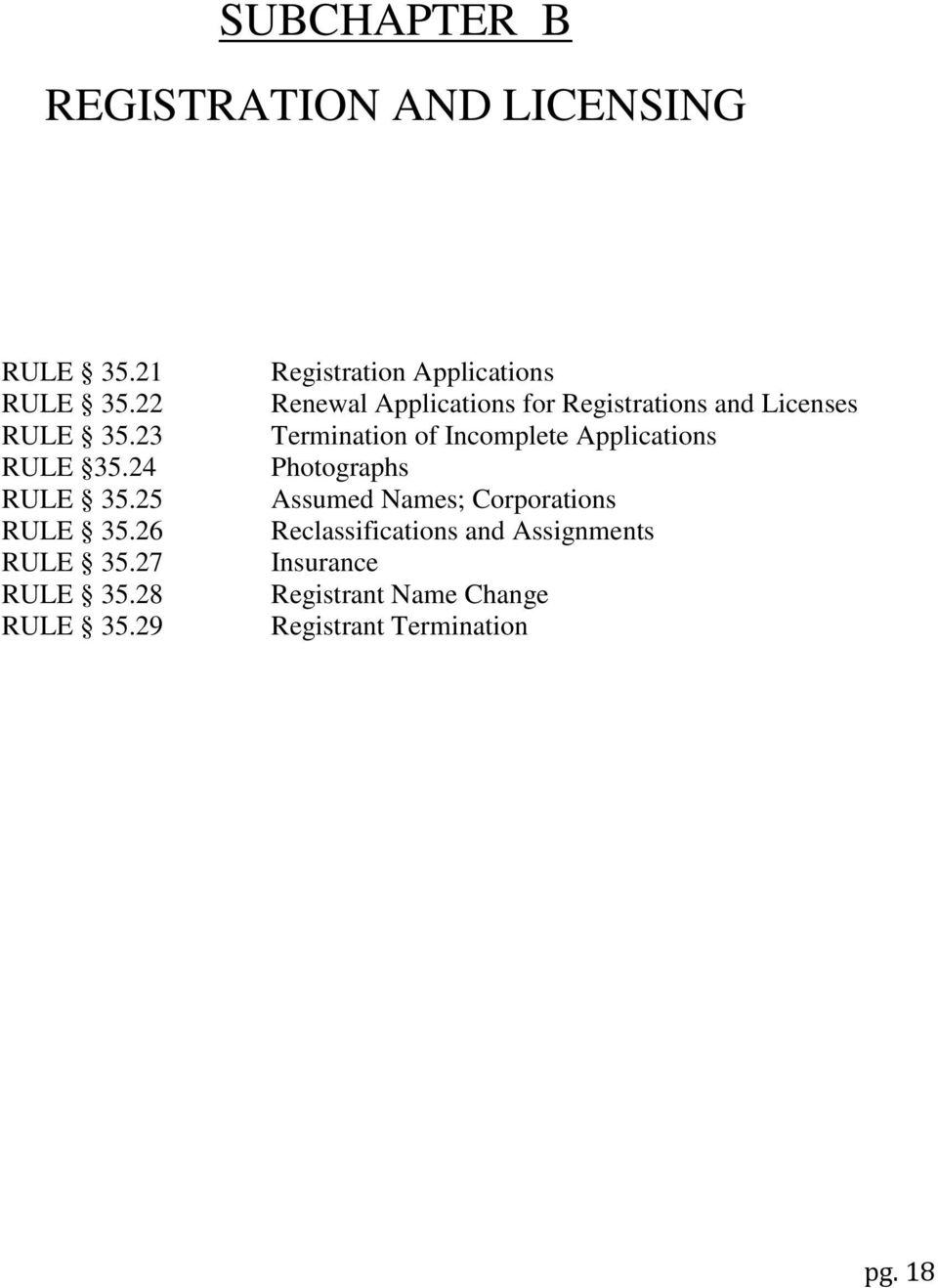 29 Registration Applications Renewal Applications for Registrations and Licenses Termination of