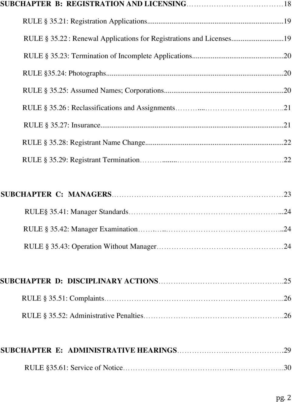 ..22 RULE 35.29: Registrant Termination....22 SUBCHAPTER C: MANAGERS 23 RULE 35.41: Manager Standards...24 RULE 35.42: Manager Examination......24 RULE 35.43: Operation Without Manager 24 SUBCHAPTER D: DISCIPLINARY ACTIONS.