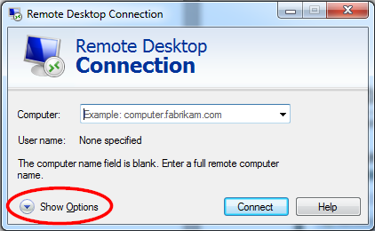 Remote Desktop on an Windows 7 Device Click the Start button. In the search bar, begin typing the phrase Remote Desktop Connection.