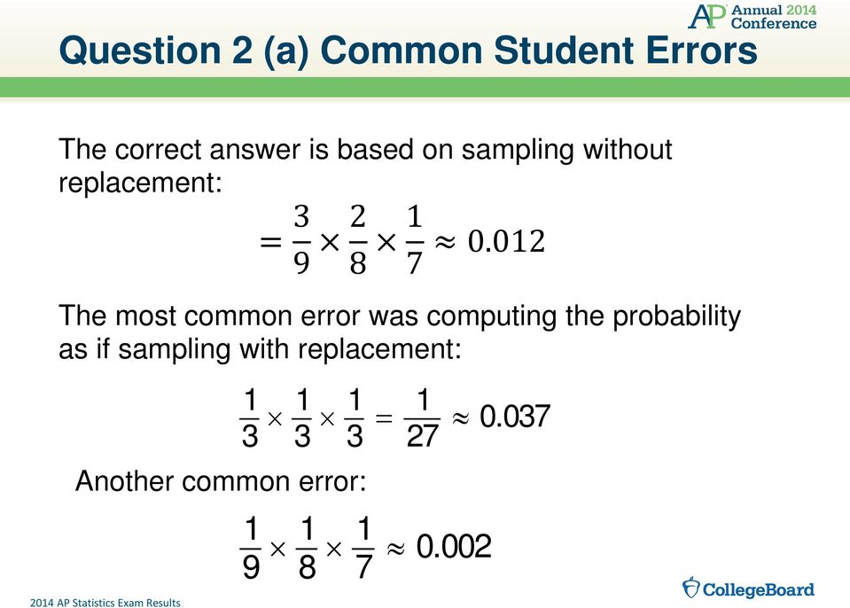 012 The most common error was computing the probability as if