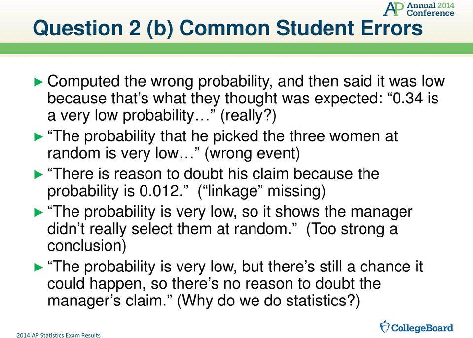) The probability that he picked the three women at random is very low (wrong event) There is reason to doubt his claim because the probability is 0.012.