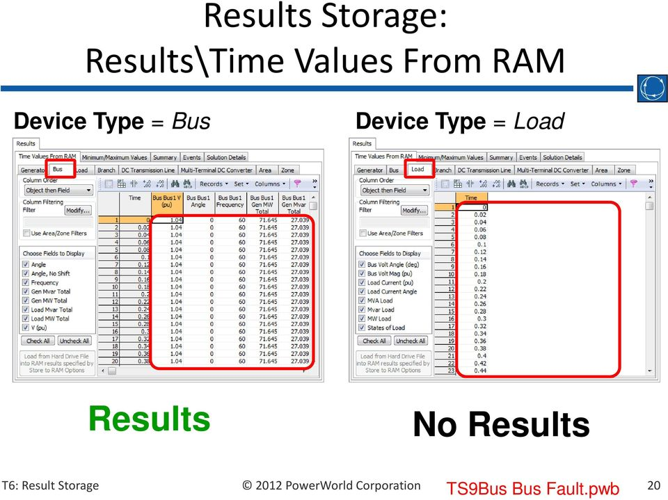 Bus Device Type = Load Results