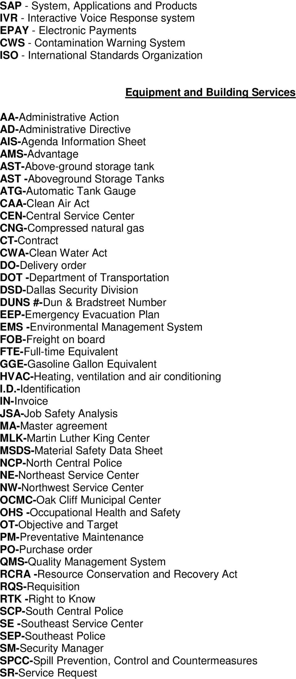 CAA-Clean Air Act CEN-Central Service Center CNG-Compressed natural gas CT-Contract CWA-Clean Water Act DO-Delivery order DOT -Department of Transportation DSD-Dallas Security Division DUNS #-Dun &