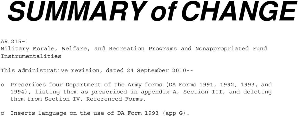 the Army forms (DA Forms 1991, 1992, 1993, and 1994), listing them as prescribed in appendix A, Section