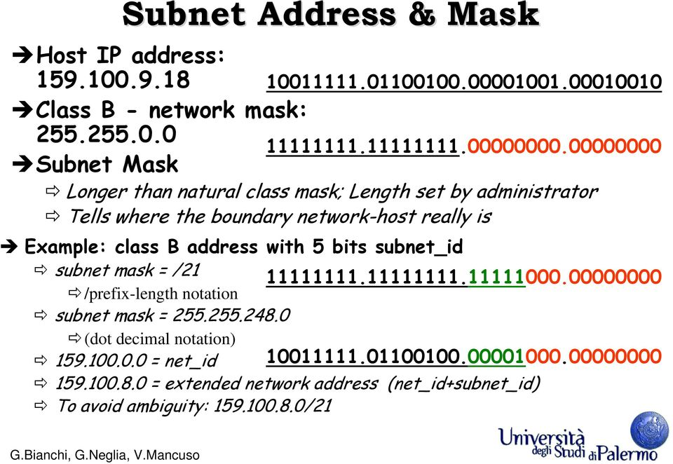 0 Subnet Mask Longer than natural class mask; Length set by administrator Tells where the boundary network-host really is 10011111.01100100.00001001.