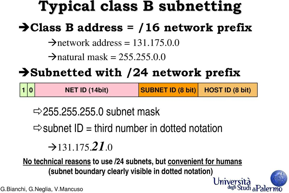 255.255.0 subnet mask subnet ID = third number in dotted notation 131.175.21.