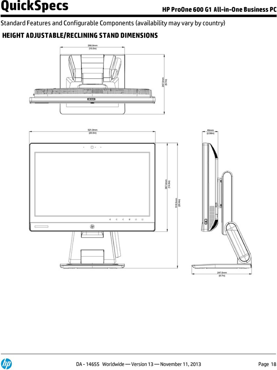 ADJUSTABLE/RECLINING STAND DIMENSIONS DA -