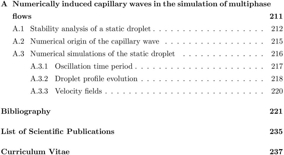 3 Numerical simulations of the static droplet.............. 216 A.3.1 Oscillation time period...................... 217 A.3.2 Droplet profile evolution.