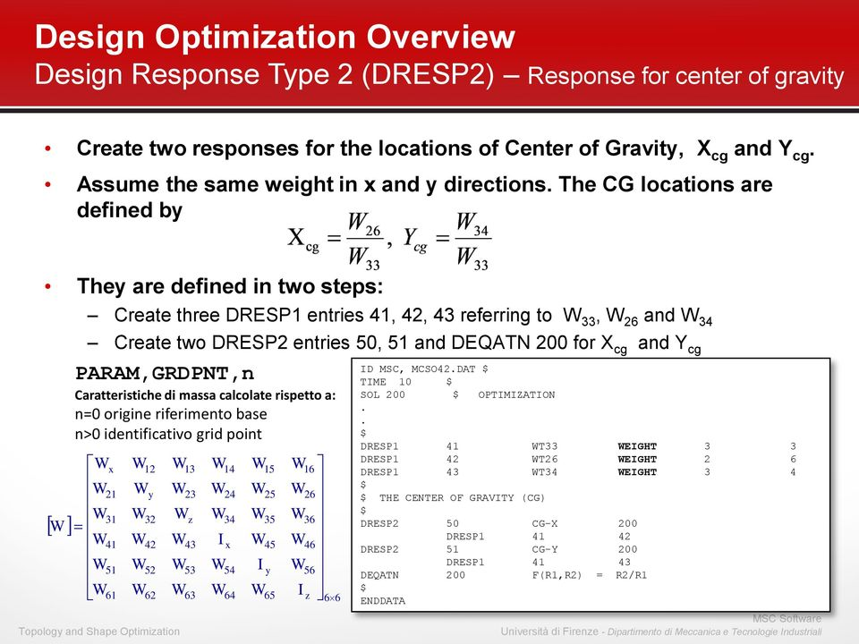 The CG locations are defined by They are defined in two steps: Create three DRESP1 entries 41, 42, 43 referring to 33, 26 and 34 Create two DRESP2 entries 50, 51 and DEQATN 200 for X cg and Y cg